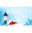 Christmas background with a lantern and a Santa vector image vector image