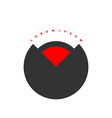 Circular logo with red segment Stylized black vector image vector image