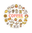 coffee shop banner round design template thin line vector image