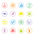 colorful flat icon set 9 with circle frame vector image vector image