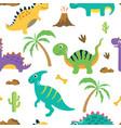 cute dinosaur seamless pattern vector image vector image