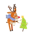 Deer in Blue Scarf Decorate Xmas Tree Isolated vector image vector image