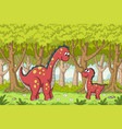 dinos in the forest vector image