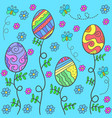 doodle of easter egg on blue background vector image
