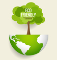 ECO FRIENDLY Ecology concept with globe and tree vector image vector image