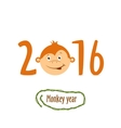 Flat funny brown monkey on a white background vector image vector image