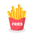 french fries in paper box isolated on white backgr vector image vector image