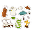 golf icons hobby car equipment cart player golfing vector image vector image