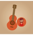 guitar retro music hipster man vector image vector image