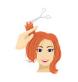 hair cutting with scissors womens haircut single vector image