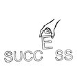 hand putting letter E on the word SUCCESS vector image