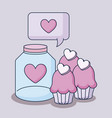 happy valentines day with jar and cupcakes vector image