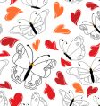heart and butterfly pattern vector image