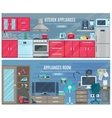 Household Horizontal Banners With Electronic And vector image vector image