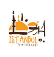 istanbul travel logo template hand drawn vector image vector image