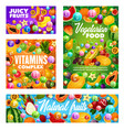 juicy fruits and vitamins natural organic fruits vector image vector image