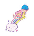 kid on rainbow and clouds cartoon vector image vector image