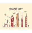 Kuwait city skyline silhouette linear style vector image vector image