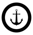 marine anchor the black color icon in circle
