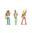 men different subcultures set rocker hipster vector image vector image