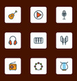 multimedia icons colored line set with strings vector image