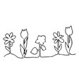 one line design silhouette of flowers vector image vector image