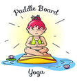 paddle board yoga meditation image vector image vector image