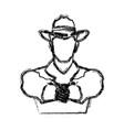 portrait man in cowboy hat sketch vector image