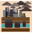 Power plant smokestacks emitting smoke vector image vector image