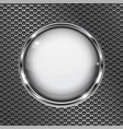 round white 3d button with chrome frame on metal vector image vector image