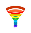 sales conversion funnel rainbow color vector image
