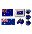 set australia flags collection isolated vector image