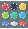 Set of colorful gambling chips casino tokens vector image vector image