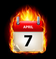 seventh april in calendar burning icon on black vector image vector image