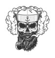 skull in smoke cloud vector image vector image