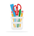 stationery items in a glass vector image vector image