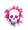 t-shirt print with grunge skull over white vector image vector image