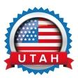 Utah and USA flag badge vector image vector image