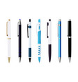 various automatic spring ballpoint pens set vector image vector image