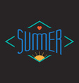 vintage summer label with sun and heart vector image vector image