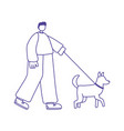 young man cartoon character with dog walking vector image