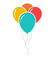 bunch of three colorful celebration balloons icon vector image