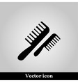Flat comb icon on grey background vector image
