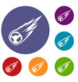 falling meteor with long tail icons set vector image