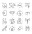 5g internet line icons set included icons as iot vector image vector image