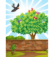 A tree with a flock of birds vector image vector image