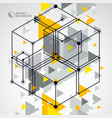 abstract geometric yellow background with cubes vector image