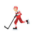 active teen boy playing hockey ice hockey player vector image