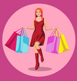 beautiful woman is shopping the girl with the vector image
