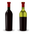 bottles of red wine half full and full vector image vector image